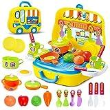 Rollenspiel Küche Spielzeug Kinder Kochen Lebensmittel Spielset für Kleinkind Mädchen 3 Jahre alt (Gelb)