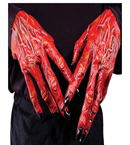 Teufel rot Halloween Hände Halloween Fake ()