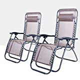 517XaImHI2L. SL160  - NO.1 GARDEN Life Carver Set of 2 Foldable Adjustable Sun lounger Chair Garden Patio Chair with Pillow Weather Resistant Reclining Armrest Camping Relax Chair Outdoor Recliner (2) Best price Review