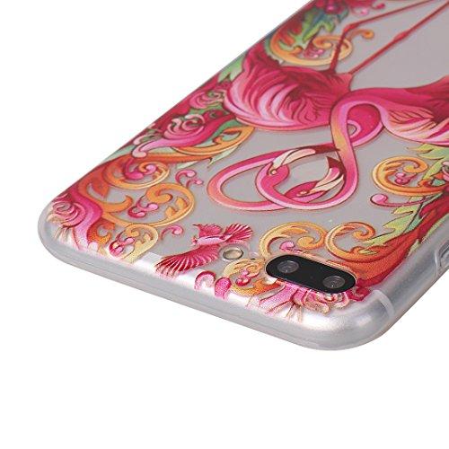 iPhone 8 Plus Coque Transparent en Fleur, Moon mood® Portable Étui iPhone 7 Plus Souple TPU Silicone Housse pour Apple iPhone 7/8 Plus 5.5 pouse Soft Case Cover Doux Cas de Protection Gel Antichoc Arr 2PCS-2