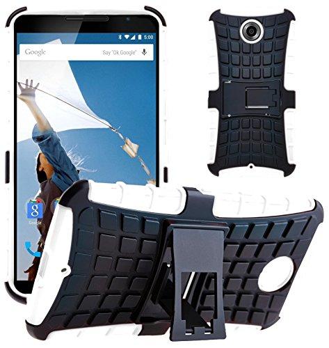 G-Shield Hülle für Google Nexus 6 Stoßfest Schutzhülle mit Ständer - Weiß