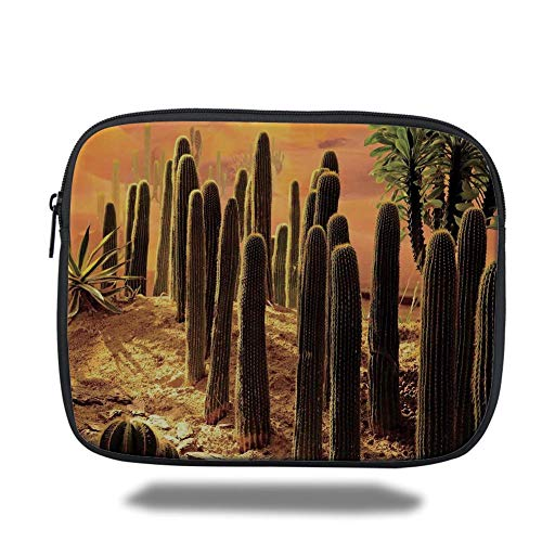 Laptop Sleeve Case,Cactus Decor,Sunset in Wild Nature Hot Desert Botanic Mexican Trees Leaves Sand Photo Image,Multicolor,Tablet Bag for Ipad air 2/3/4/mini 9.7 inch -