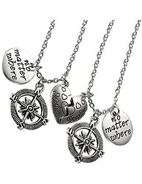cupimatch 2pcs Mutter Tochter Halskette Set, Klassisch Edelstahl Kompass Herz Form mit Gravur
