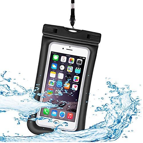 YoJetSing wasserdichte Handyhülle wasserdichte Hülle Wasserfeste Handyhülle Staubdicht Schutzhülle für iPhone X 8 7 6s 6 Plus 5s Samsung S8 S7 S6 Huawei bis zu 6 Zoll (Schwarz)