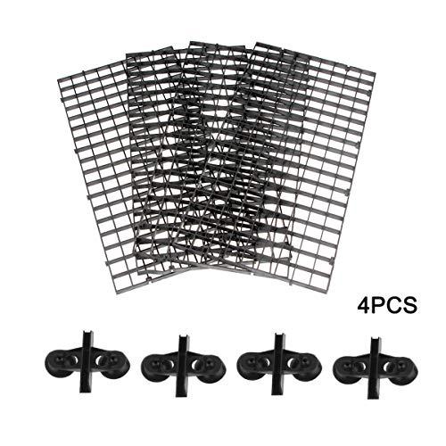 Senzeal 4 Stück Aquarium Trennwand Fisch Tank Teiler Kunststoff Gitter Teiler Tablett Isolation Board Grid mit Saugerclips Schwarz