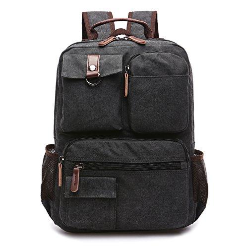 Outreo Backpack Sport Bag Scuola Università Zaino Uomo Borsello Vintage Borsa Laptop Sacchetto per Studenti Outdoor Zaini Borse di Tela Tasca Sportive Viaggio Nero