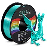 SUNLU Silk PLA Filament 1.75mm, 3D Printer Filament Silk, Silky Shiny Filament PLA for 3D Printers and Pens, 1kg(2.2Lbs)/Spool, Silk Green