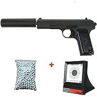 Galaxy Pack Cadeau Airsoft Pistolet TT33 Tokarev Métal Noir 6mm Son Silencieux 0.5 Joule à Ressort 600 Billes + Cible Offert ! - G33A