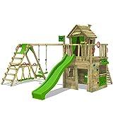 FATMOOSE Kletterturm CrazyCat Comfort XXL Spielturm Baumhaus mit Schaukel und Rutsche, Surfanbau, Kletterwand und Spielhaus mit Holzdach