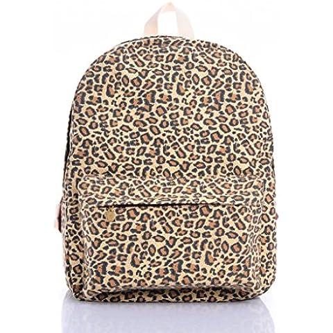 Bromeo 2015 Nueva Moda Niñas lindo del estampado leopardo lienzo Mochila Ocio bolsa de viaje
