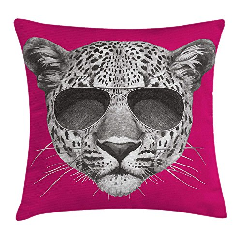 tgyew Modern Throw Pillow Cushion Cover, Hipster Leopard with Aviators Sunglasses Portrait Cool Wild Animal Illustration, Decorative Square Accent Pillow Case, 18 X 18 inches, Magenta Grey -
