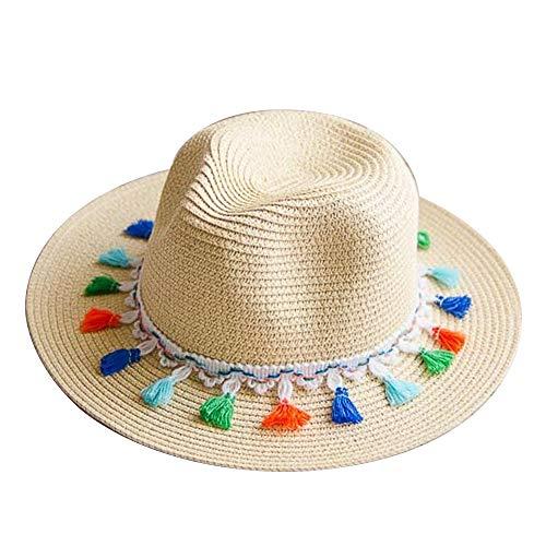 GAOXUQIANG Frauen Stroh Sommer Fedora, Panama Trilby Sun Hut mit Quaste Band und breiterer Krempe,Beige,L