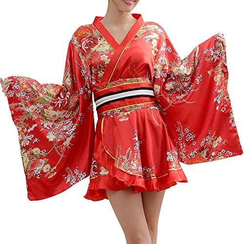 HongH Sexy japanischer Kimono-Kostüm für Mädchen, Lolita-Outfit für Halloween, mit Blumenmuster - Rot - Groß