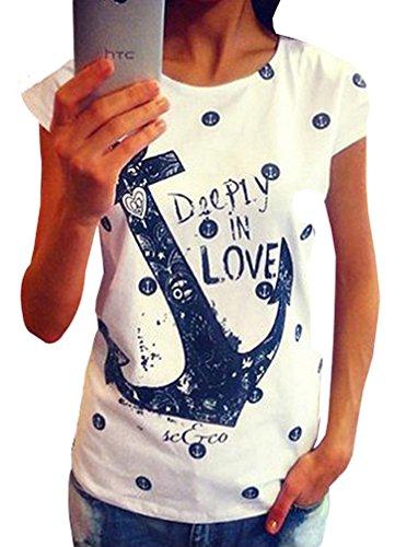 ZKOO T-Shirts Damen Kurzarm Boots Anker Druck T-Shirt Oberteile Bluse Tops Hemd Sommer Loses Lässige Weiß (Anker-damen T-shirt)