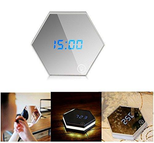PINWHEEL Touch LED Luz de noche, Digital Despertador, Espejo para maquillarse, Incorporado 2000mA Recargable Portable Multifuncional Luces Despertadores de viaje (blanco)