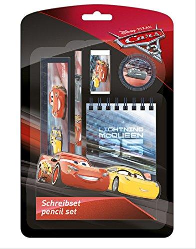 Schulschreibset Schreibset Schulset Cars 5-teilig bestehend aus Bleistift, Lineal, Radiergummi, Anspitzer, Notizblock