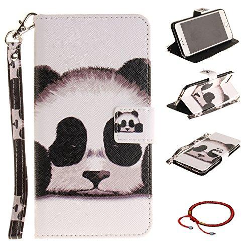 GOCDLJ iPhone 7 Plus/iPhone 8 Plus Hülle Muster PU Leder Flip Cover Tasche Ledertasche Handytasche Schutzhülle Handyhülle Case Etui Wallet Lanyard Strap Shell Design Netter Panda -
