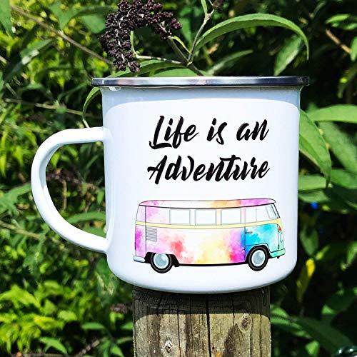 Cadouri Camping Emaille Tasse LIFE IS AN ADVENTURE Kaffeetasse Outdoortasse Campingbecher - 300 ml