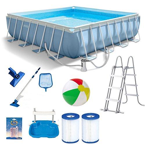 INTEX 488x488x122 cm Prism Frame Swimming Pool 28766 Komplett-Set mit Extra-Zubehör wie: Reinigungsset, Filterkartusche, Strandball und Fußbad …