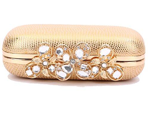 Strawberryer Diamant En Pierre De Modèle En Cuir D'or Sac à Main Europe Et Les États-Unis En Mode Avec Diamant En Chaîne De Soirée De Paquet Mme Clutch gold