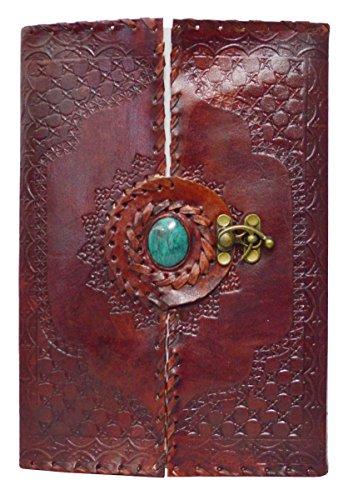 Zap Impex® Handgefertigte Leder Journal Tagebuch Mitte Stein gestickt Notebook Sketchbook mit Blank Paper Pocket Notebook Messing Schloss für näher (10 x 7) (Stein Gestickt)