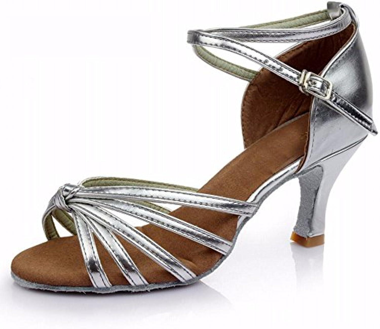 xiao123 Women's Latin Dance Soft Bottom Adult Cowboy Dance Sandals Light Brown Leather Surface Five Series Fiveö