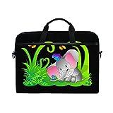 Ahomy Multifunktionale Laptoptasche/Aktentasche, Stoff, wasserdicht, für 14-14,5 Zoll (35,6-14,5 cm), Elefantengras, Blumen und Schmetterling