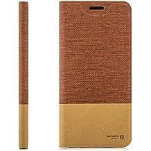 Custodia Huawei GR3 (P8 Lite SMART) Cover Flip Wallet [Zanasta Designs] Case Copertura con Portafoglio - Pieghevole con Porta Carte, Alta Qualità | Rosso-Marrone
