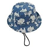 Cloud Kids Sonnenhut Baby UV-Schutz Fischerhut Kappe Sommerhut Tierdruck Hut Freizeithut Blau Size 46: Kopfumfang 44cm