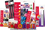 Profi Modellierset Staedtler 8023 02 Fimo soft 24er Materialpackung + Cutter, Schleifschwämme, Glanzlack, Werkzeuge und exklusiver Bonus-Beigabe