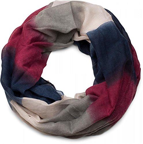 styleBREAKER Loop Schlauchschal mit Streifen Farbverlauf Muster, Unisex 01018097, Farbe:Dunkelblau-Bordeaux-Rot-Grau -