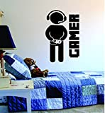Gamer with Controller Quote Decal Sticker Wall Vinyl Art Design Gamer Cool Funny Game Room by Boop Decals