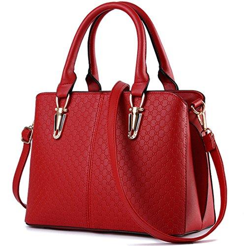 Mailo Damen Leder borsa a tracolla delle borse delle signore classiche messenger bag Large Tote vino rosso