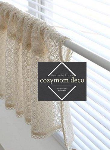 Beige Spitze handgefertigt Natürliche Baumwolle Cafe Gardine, Küche Volants, europäische ländlichen Fashion Fenster Vorhang für Home, einem Stück 48(W) x155(L) cm von cozymomdeco