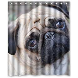 Miel de día casa perro carlino resistente al agua cortina de ducha 60x 72elección de regalo