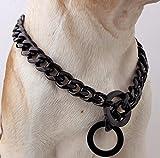 17mm Titan Stahl Edelstahl schwarz Kragen Haustier Halsband sechs Hundehalsband schwarz , 14inch
