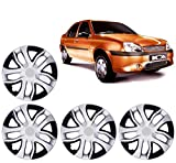 #8: Autopearl Premium Quality Car Tyre Wheel Hub Caps/Cover Black & Silver Set Of 4 Pcs. For 13