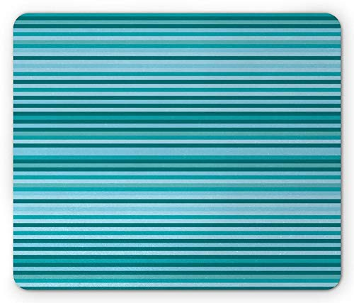 Striped Mouse Pad, Long Narrow Linear Bands Modern Streaks Design Geometric Grids Graphic Print, Standard Size Rectangle Non-Slip Rubber Mousepad, Teal Navy Blue -