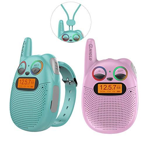 Wiederaufladbare Uhren Walkie Talkies Watch für Kinder mit FM, PMR, 2-Meilen-Reichweite, funkelnden LED-Augen, tragbarer Uhr, Walkies-Talkies-Spielzeug für Kinder, Radfahren, Wandern, Camping, Laufen