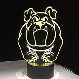 Lampada da notte a luce 3D, lampada a led cane carino Lampada 3D USB 7 colori Tocco Luci camera da letto Atmosfera Decorazione Cucciolo Luce Regali novità