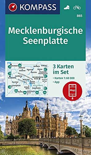 Mecklenburgische Seenplatte: 3 Wanderkarten 1:60000 im Set inklusive Karte zur offline Verwendung in der KOMPASS-App. Fahrradfahren. (KOMPASS-Wanderkarten, Band 865)