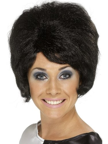 Schwarze 50er 60er Jahre Disco Girl Perücke schwarz Damenperücke karneval -