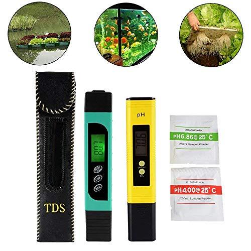 3in1 TDS + EC + Temp Meter und Digital LCD pH Meter mit Auto Kalibrierung Funktion, Genauigkeit Wasser Qualität Monitor Pen Style Portable Tester für Trinkwasser, Hydroponik, Gartenarbeit -