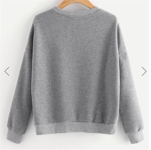 Gogofuture Sweatshirt Femme Manches Longues Col Rond Tops à Sweats Casual Pullover Brodé gray