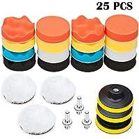 BangShou Polierschwamm Auto, 25Pcs Poliermaschine Pads Set 3inch ca. 80mm Wolle Polierset aus Schwamm Bohrer Adapter