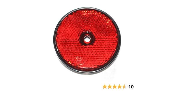 Old Harvest 12x Reflektor Mit Loch Rund 60mm Für Anhänger Pritsche Trailer Krad Rückstrahler Markierung Neu Rot Auto
