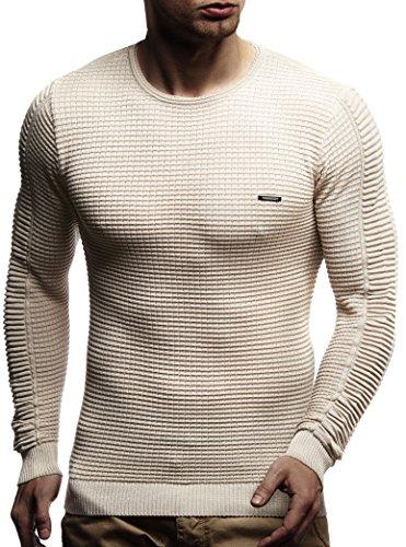 LEIF NELSON Herren Pullover Strickpullover Hoodie Basic Rundhals Crew Neck Sweatshirt longsleeve langarm Sweater