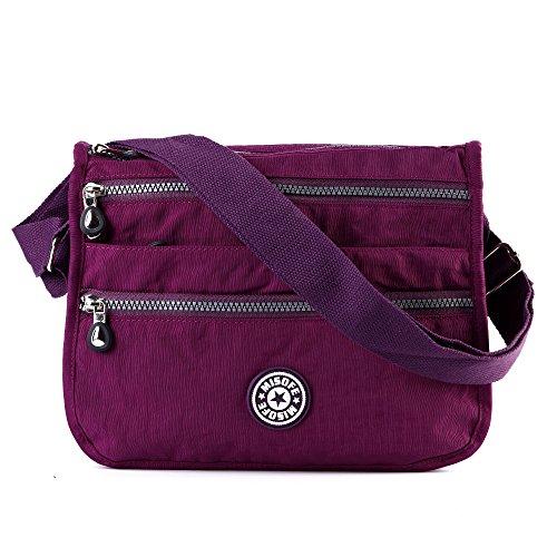 Damen Messenger-Tasche aus Nylon, leger, Umhängetasche, Schultertasche, mit mehreren Fächern, Reisetasche, Violett - violett - Größe: Medium (Medium Nylon-tasche)