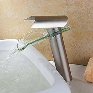 Hiendure® Mitigeur de lavabo bec haut contemporaine robinet cascade salle de bains - nickel brossé