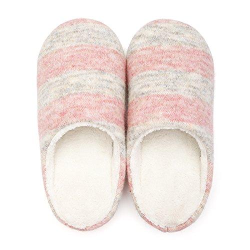DogHaccd pantofole,L'inverno del tuo salotto. caldo inverno cotone pantofole coppie femmina soggiorno mezza-slip e ciabattine maschio Rosa1